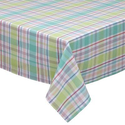 "Spring Fling Plaid Tablecloth - Multi-Colored (52""x52"")"
