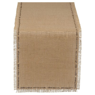 "Sprig Burlap Printed Table Runner - Tan (14.25""x74"")"