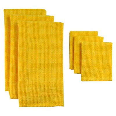 Plaid Heavyweight Dishtowel Set - Yellow