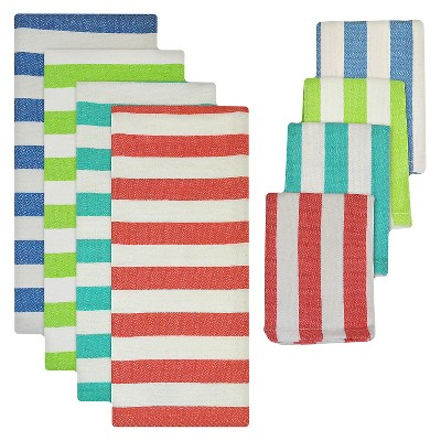 Cabana Stripe Heavyweight Dishtowel and Dishcloth Set - Multi-Colored