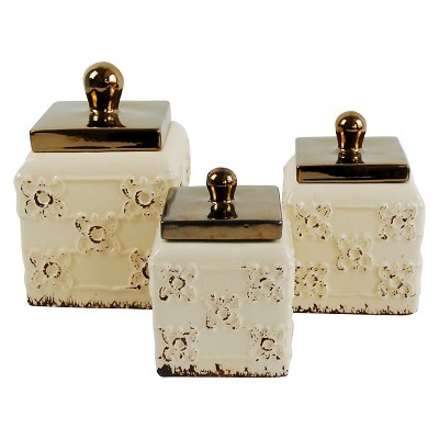 Set of 3 Cream Canisters with Metal Finished Lids