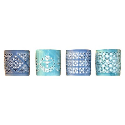 Set of 4 Blue Ceramic Votive Candleholders