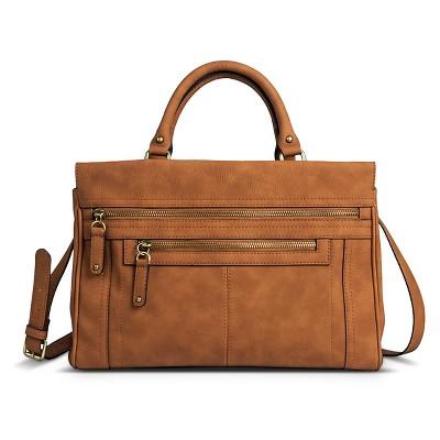Women's Faux Leather Solid Satchel Handbag with Zipper Pockets Butternut Wood- Merona™