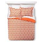Polygon Duvet Cover Set - Orange/White (Twin Extra Long)