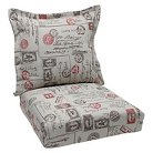 Bella-Dura® Carte Postale Outdoor One Piece Seat and Back Cushion - Red/Brown