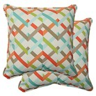 Pillow Perfect™ Parallel Play Outdoor 2-Piece Square Throw Pillow Set - Blue