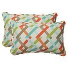 Pillow Perfect™ Parallel Play Outdoor 2-Piece Lumbar Throw Pillow Set - Blue