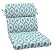 Bella-Dura® Shivali Outdoor Rounded Edge Chair Cushion - Blue/Off-White