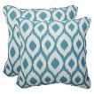 Bella-Dura® Shivali Outdoor 2-Piece Square Throw Pillow Set - Blue/Off-White
