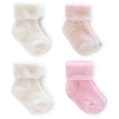 Just One You™ Made By Carter's® Newborn Girls' 4-Pack Ankle Sock - White/Pink 0-3 M