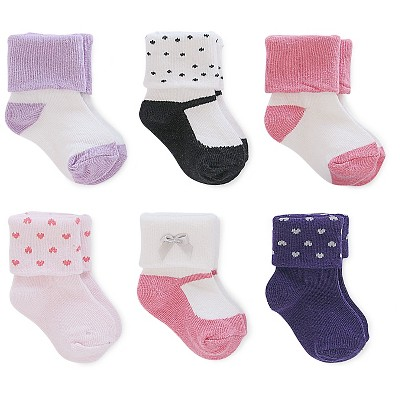 Just One You™ Made By Carter's® Newborn Girls' 6-Pack Ankle Sock - White/Pink/Purple/Navy 3-12 M