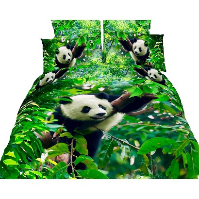 Dolce Mela Cute Panda 6-Pack Duvet Cover Set - Green (Queen)