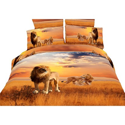 Dolce Mela African Lions 6-Pack Duvet Cover Set - Brown (Queen)