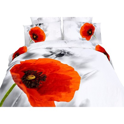 Dolce Mela Floral Poppies 6-Pack Duvet Cover Set - White (Queen)