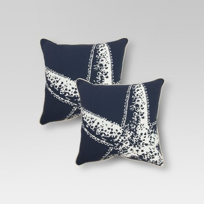 "2-Piece 18"" Toss Pillow Set - Navy Starfish - Threshold™"