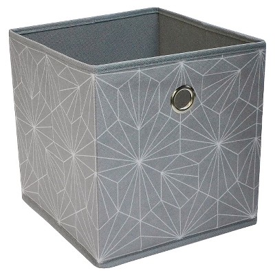 "Fabric Cube Storage Bin 11"" - Grey Geo Pattern - Room Essentials™"