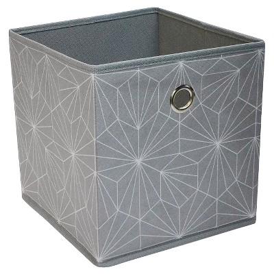 "Fabric Cube Storage Bin 11"" - Grey Geo Pattern - Room Essentials™"
