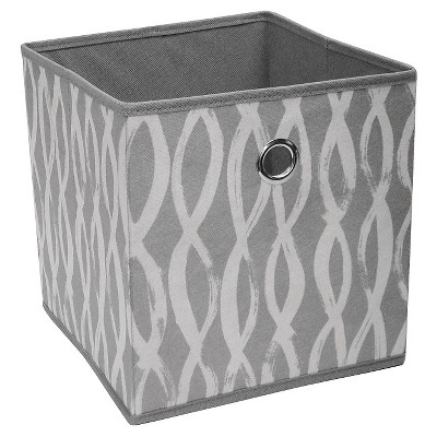 "Fabric Cube Storage Bin 11"" - Gray Pattern Swirl - Room Essentials™"