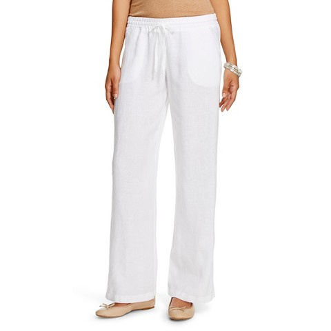 Excellent WOMENS KOOKAI WHITE LINEN BUTTON CASUAL CLASSIC LONG PANTS TROUSERS