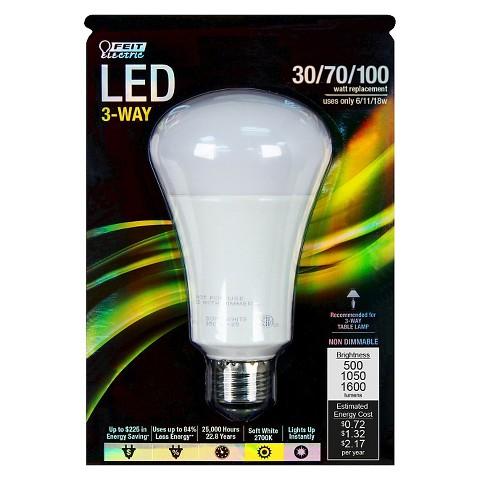 feit 30 70 100 watt 3 way led light bulb soft target. Black Bedroom Furniture Sets. Home Design Ideas