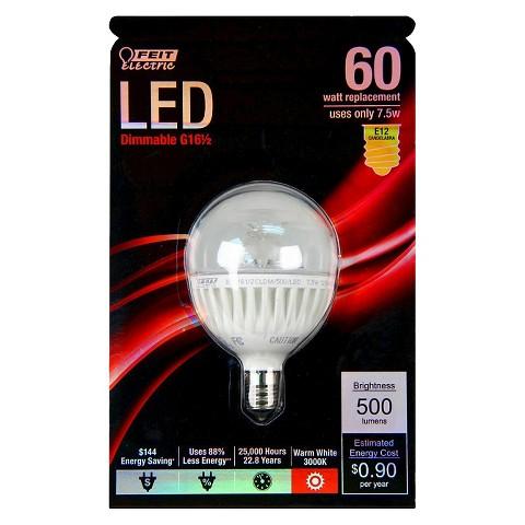 feit 60 watt g16 candelabra base led light bulb target. Black Bedroom Furniture Sets. Home Design Ideas