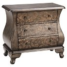 Ashen Two Tone Scroll Bombe Chest - Pewter