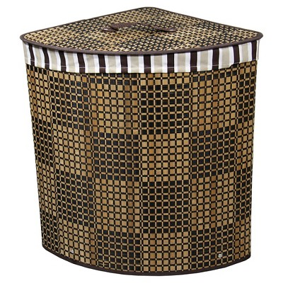 "ORE International Checker Print Bow Front Bamboo Corner Laundry Basket (20"")"