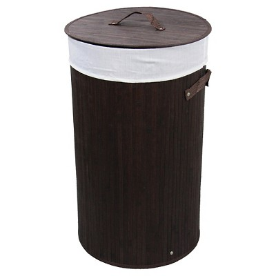 "ORE International Round Folding Bamboo Laundry Basket with Handles (24"")"
