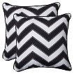 Pillow Perfect™ Chevron Outdoor 2-Piece Square Throw Pillow Set - Black