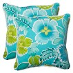 Pillow Perfect™ Calypso Outdoor 2-Piece Square Throw Pillow Set - Green