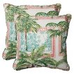 Pillow Perfect™ Key Biscayne Outdoor 2-Piece Square Throw Pillow Set - Green