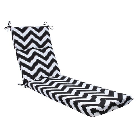 Pillow perfect chevron outdoor chaise lounge cu target for Black and white chaise lounge cushions