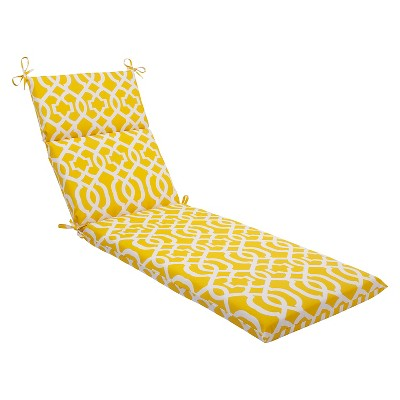 Pillow Perfect™ New Geo Outdoor Chaise Lounge Cushion - Yellow