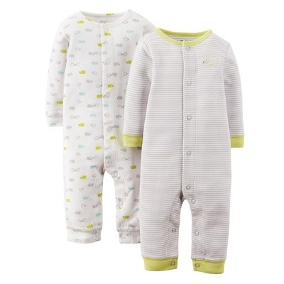 Just One You™ Made By Carter's® Newborn Boys' 2-Pack Jumpsuit - Turq/Gray 9 M