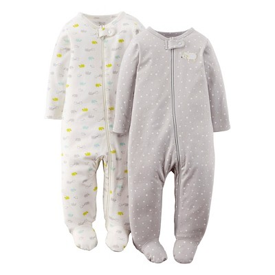 Just One You™ Made By Carter's® Newborn 2-Pack Footed Sleeper - Gray 6 M