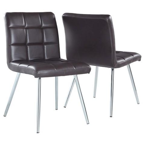 Metal Dining Chair Brown Set of 2 Monarch Tar