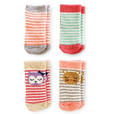 Just One You™ Made by Carter's® Baby Girls' 4pk Stripe Sock - Pink/Gray/Blue 3-12 M