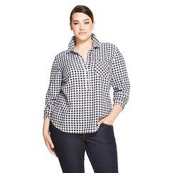 Women's Plus Size Favorite Shirt Black Herringbone - Merona™