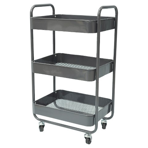 Room Essentials 3 Tier Metal Cart With Mesh Tra Target