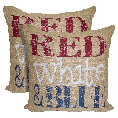 "Red White & Blue Pillows - 18""x18"" - 2-Pack"