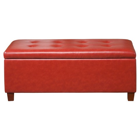 Homepop Large Faux Leather Storage Bench Target
