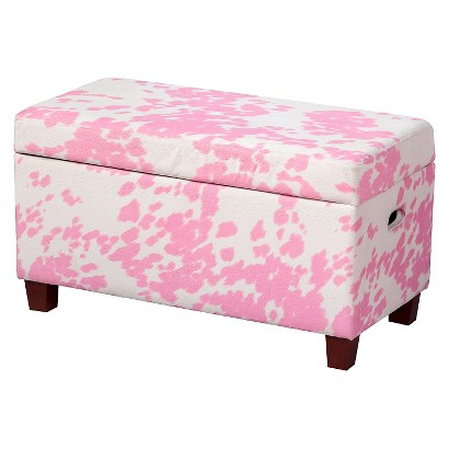 Kids Storage Ottoman: HomePop Storage Bench - Pink/White