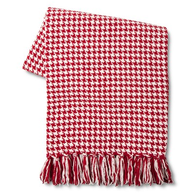 Threshold™ Houndstooth Chenille Throw Red