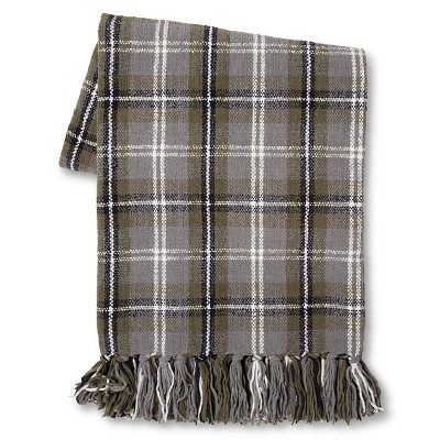 Threshold™ Plaid Chenille Throw Blue