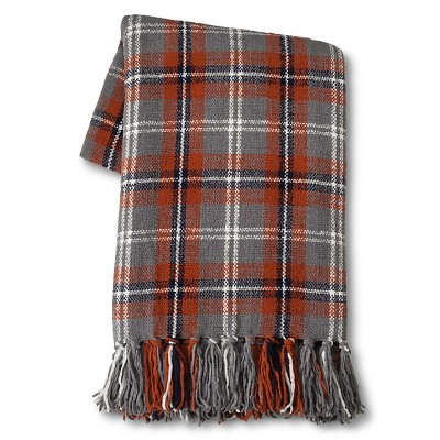 "Threshold™ Chenille Plaid Throw - Red/Gray 50""X60"""