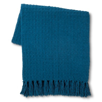 Threhold Basketweave Chenille Throw Teal