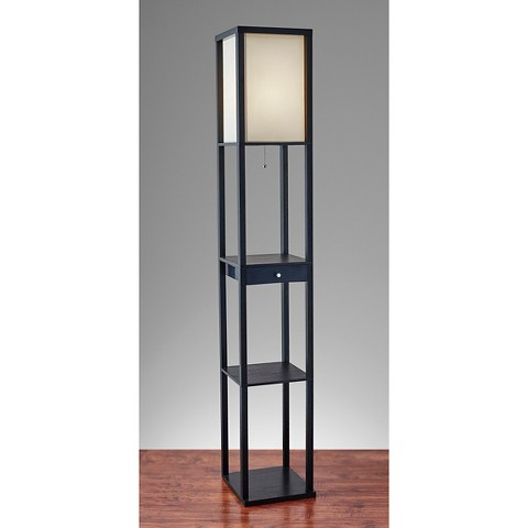 adesso parker shelf floor lamp black product details page. Black Bedroom Furniture Sets. Home Design Ideas