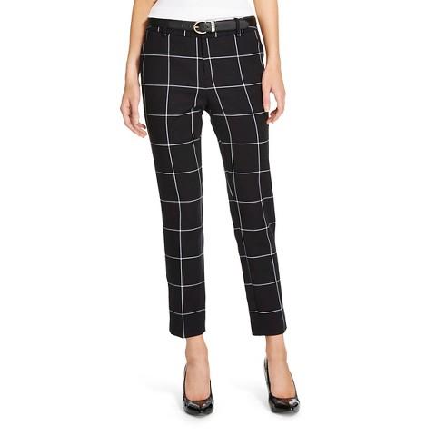 Women's Classic Ankle Pant Black Windowpane - Me... : Target