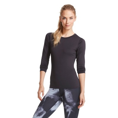 C9 Champion® Women's Brushed Fleece Lined Thermal Crewneck Top Black L
