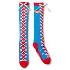 Wonder Woman Women's Faux Lace Up Knee High Sock - Blue/White/Red One Size